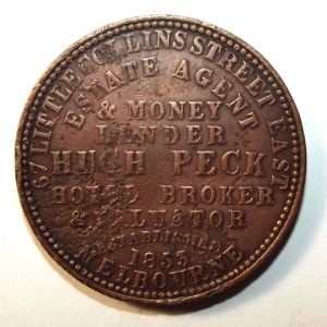 1862 Australia 1 Penny Hugh Peck, Estate Agent & Money Lender, Melbourne Token 1
