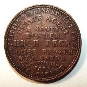 1862 Australia 1 Penny Hugh Peck, Estate Agent & Money Lender, Melbourne Token 1