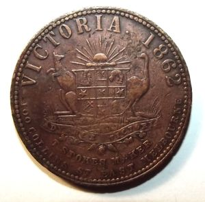 1862 Australia 1 Penny Hugh Peck, Estate Agent & Money Lender, Melbourne Token