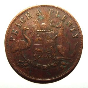 1863 Australia 1 Penny Merry & Bush General Merchants Toowoomba Queensland Token 1