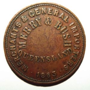 1863 Australia 1 Penny Merry & Bush General Merchants Toowoomba Queensland Token