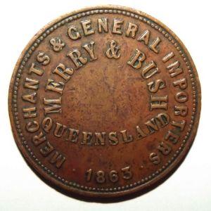 1863 Australia 1 Penny Merry & Bush General Merchants Toowoomba Queensland Token