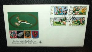 1889 - 1989 South African Springbok Rugby 100 Year Centenary FDC First Day Cover