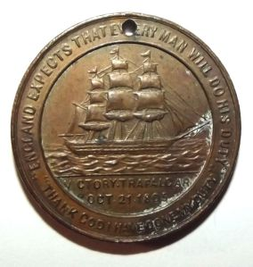 1905 British & Foreign Sailors Society Trafalgar Death of Nelson Centenary Medal 1