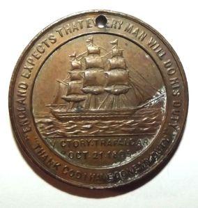 1905 British & Foreign Sailors Society Trafalgar Death of Nelson Centenary Medal 1