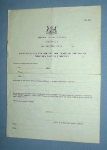1982 South Africa SADF ID Certificate for Learner Drivers of Military Vehicles 1