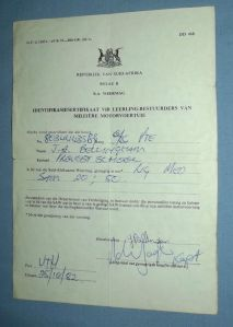 1982 South Africa SADF ID Certificate for Learner Drivers of Military Vehicles