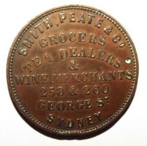 c1857 Australia Halfpenny Smith, Peate Grocers, Tea & Wine Merchant Sydney Token