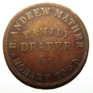 c1860 Australia 1 Penny Robert Andrew Mather Family Draper Hobart Tasmania Token