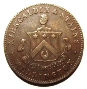 c1875 New Zealand Halfpenny, Kirkcaldie & Stains, Drapers Wellington Token 1