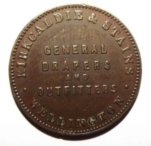 c1875 New Zealand Halfpenny, Kirkcaldie & Stains, Drapers Wellington Token