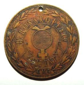 Italian W. Rosskopf & Co Patent Advertising Token Medal