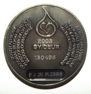 South African National Blood Service 150th Donation Bilingual Medal  2