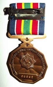South African Police Service 10 Year Commemoration Type 1 Full Size Medal 1