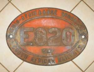 South African RAILWAYS E820 LOCO STEEL NUMBER PLATE 1