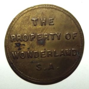 South African Wonderland Ocean Beach Automatic Amusements Brass Token 1