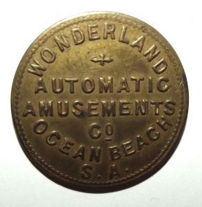 South African Wonderland Ocean Beach Automatic Amusements Brass Token