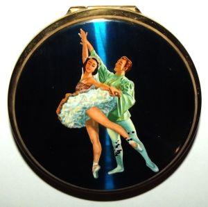 Vintage Ballerina Ballet Dancer Powder Compact - Stratton England