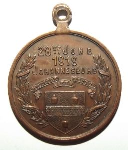 WW1 South African City of Johannesburg 1919 Peace Medal in Bronze 1