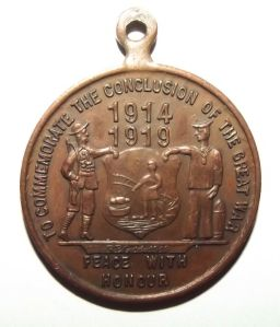 WW1 South African City of Johannesburg 1919 Peace Medal in Bronze