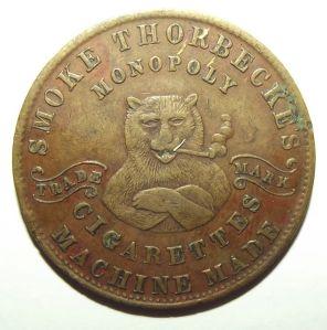 1880 Australia Smoking Bear Thorbecke's Cigarettes Melbourne Prize Token