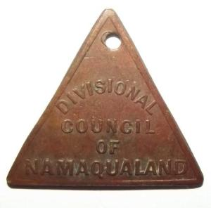 1909 South Africa Divisional Council of Namaqualand License Token 1