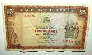 Rhodesia 5 Dollars 1972 P 32a watermark C. Rhodes