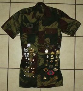 Rhodesia Army Bush War Memento Camo Shirt with 48 Badges 2