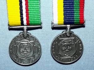 South Africa Boer War ABO and Dekoratie Voor Trouwe Dienst Silver Miniature Medals 1