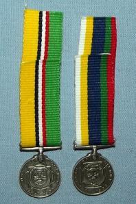 South Africa Boer War ABO and Dekoratie Voor Trouwe Dienst Silver Miniature Medals
