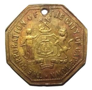 1902 South Africa The Corporation of the City of Cape Town License Token 1