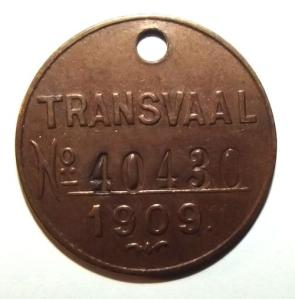 1906 South Africa Transvaal 10 Shilling Metal Dog License Disc Token 1
