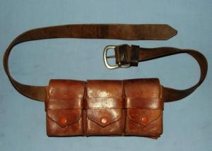 WW1 German South West Africa Schzuttruppe 3 Pouch Leather Bandolier
