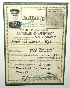 1960 South African Police Head Constable Certificate of Appointment ID Booklet
