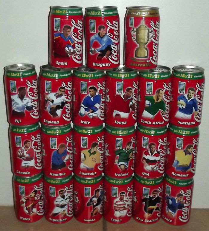 1999 Rugby World Cup South African Coca Cola Complete 21 Coke Can Set