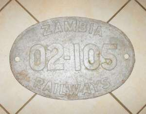 Zambia Railways 02-105 Loco Alloy Metal Number Plate 1