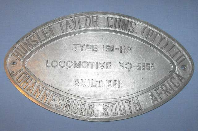 Built 1961 South African Railways Locomotive NO-5858 Metal Number Plate