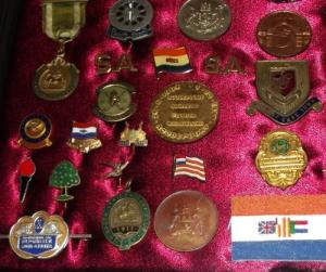 Framed Collection of South African Badges and Medals