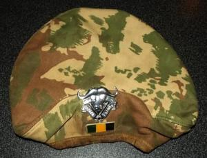 South Africa SADF 32 Battalion Camo Beret With Badge and Bar