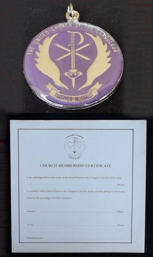 South Africa SADF 5 Recce Church of the Conqueror Neck Medallion and Certificate