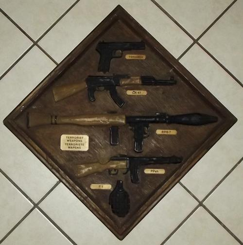 South African Terrorist Weapons Synthetic Wood Plaque