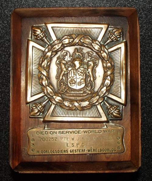 WW2 South African Died on Service Official Death Plaque 2