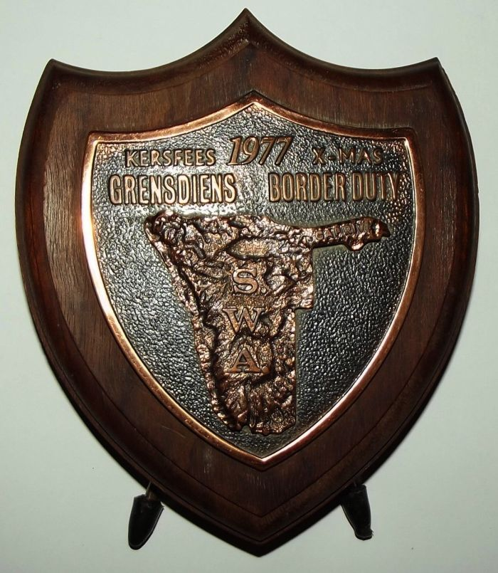 1977 South Africa SADF South West Africa Border Duty Desk Plaque