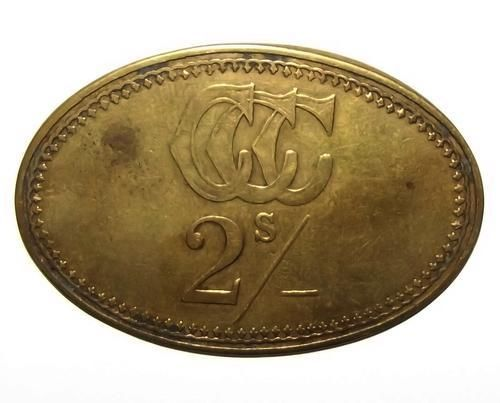 South African Cyphergat Coal Company 2 Shilling Brass Trade Token