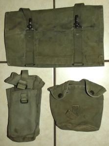 South Africa SADF Army Bush War Ground Sheet Cover + Ammo Pouch + Bottle Carrier