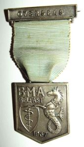 1937 British Medical Association Belfast Overseas Lapel Pin Medal