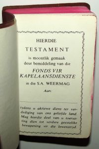 1983 South Africa SADF Chaplain Service Afrikaans Language Pocket Bible 3