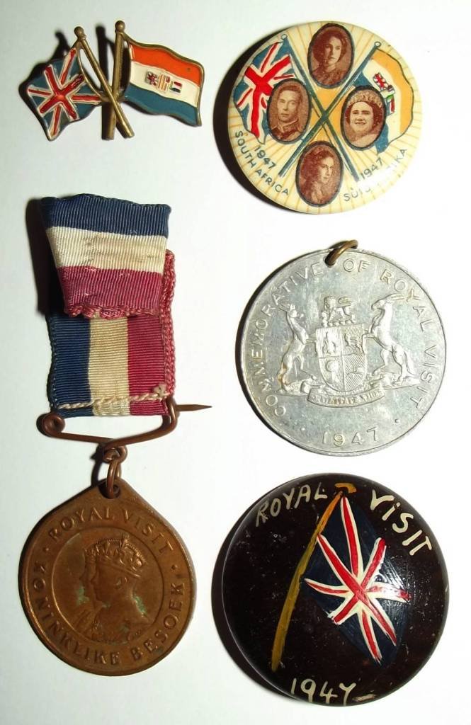 1947 Royal Visit to South Africa Lapel Pin Badges and Medals