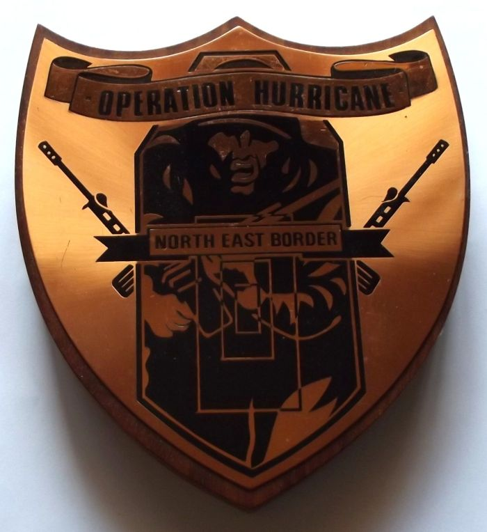 Rhodesia Operation Hurricane North East Border Copper on Wood Plaque