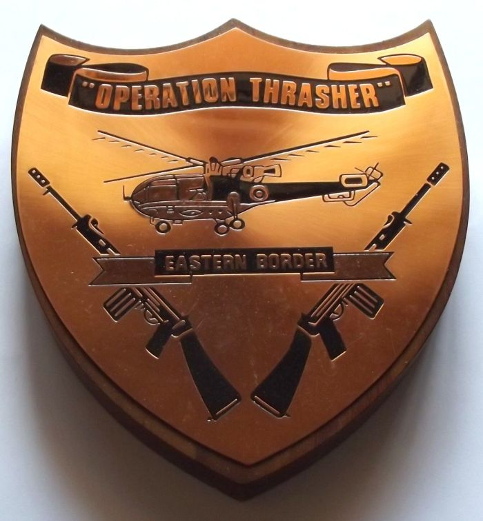 Rhodesia Operation Thrasher Eastern Border Copper on Wood Plaque